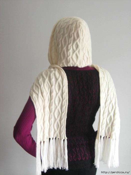 модный и стильный аксессуар в женском гардеробе шарф капюшон спицами