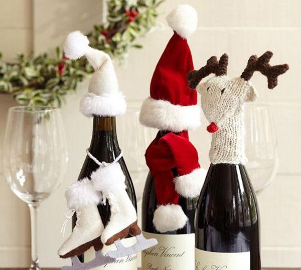 Новогодние украшения своими руками для бутылки