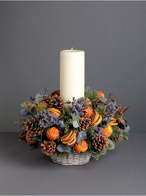 25-a-cool-centerpiece-with-a-pillar-candle-lavender-pinecones-and-citrus