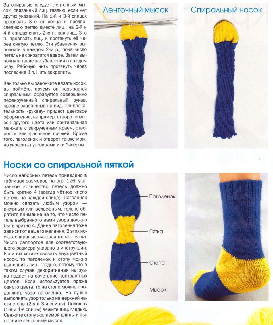 вяжем на спицах носки для начинающтхэ