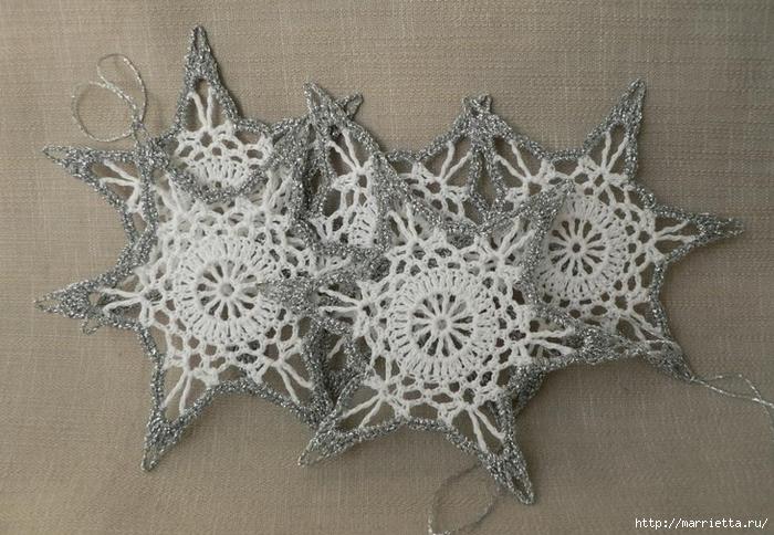 Снежинки из вяжем