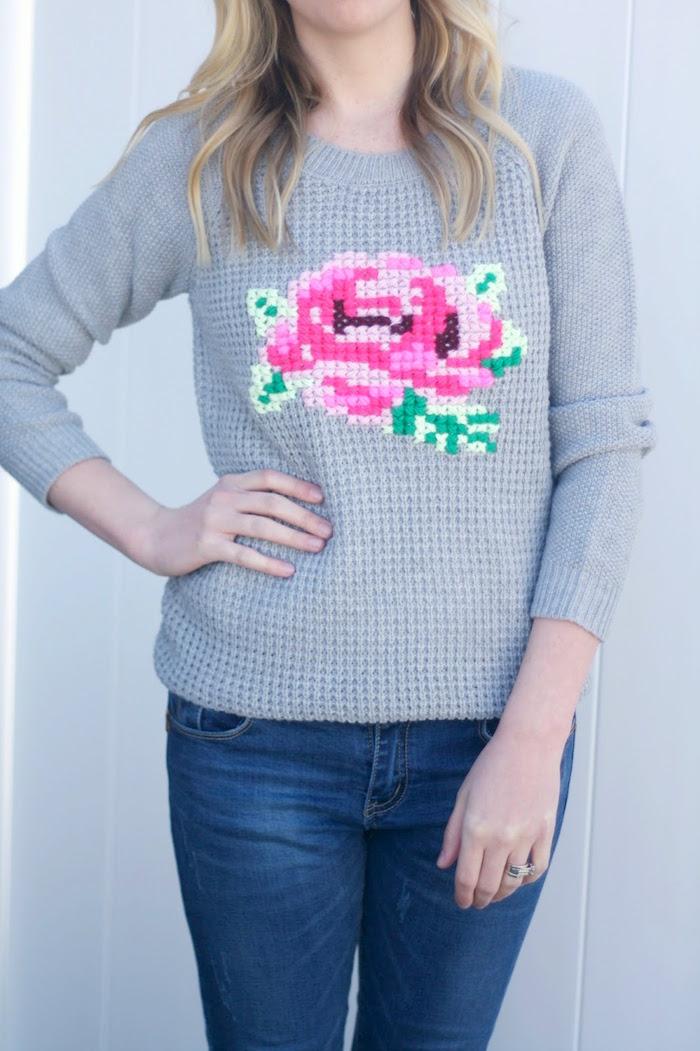 Вышивка на свитере своими руками мастер класс