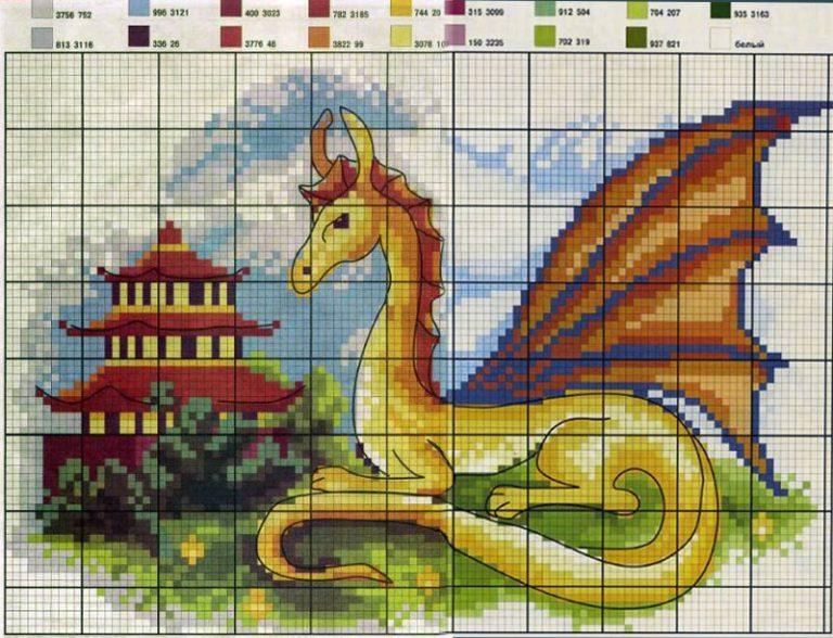 Вышивка крестом схемы как приручить дракона 56