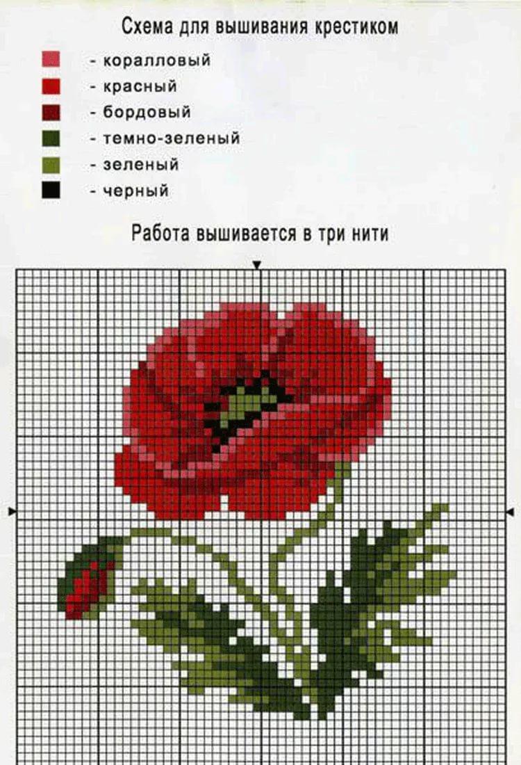 Схема вышивки крестом маки с подборкой нитей