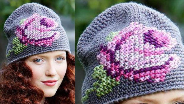 оригинальная вязаная шапка крючком с вышивкой