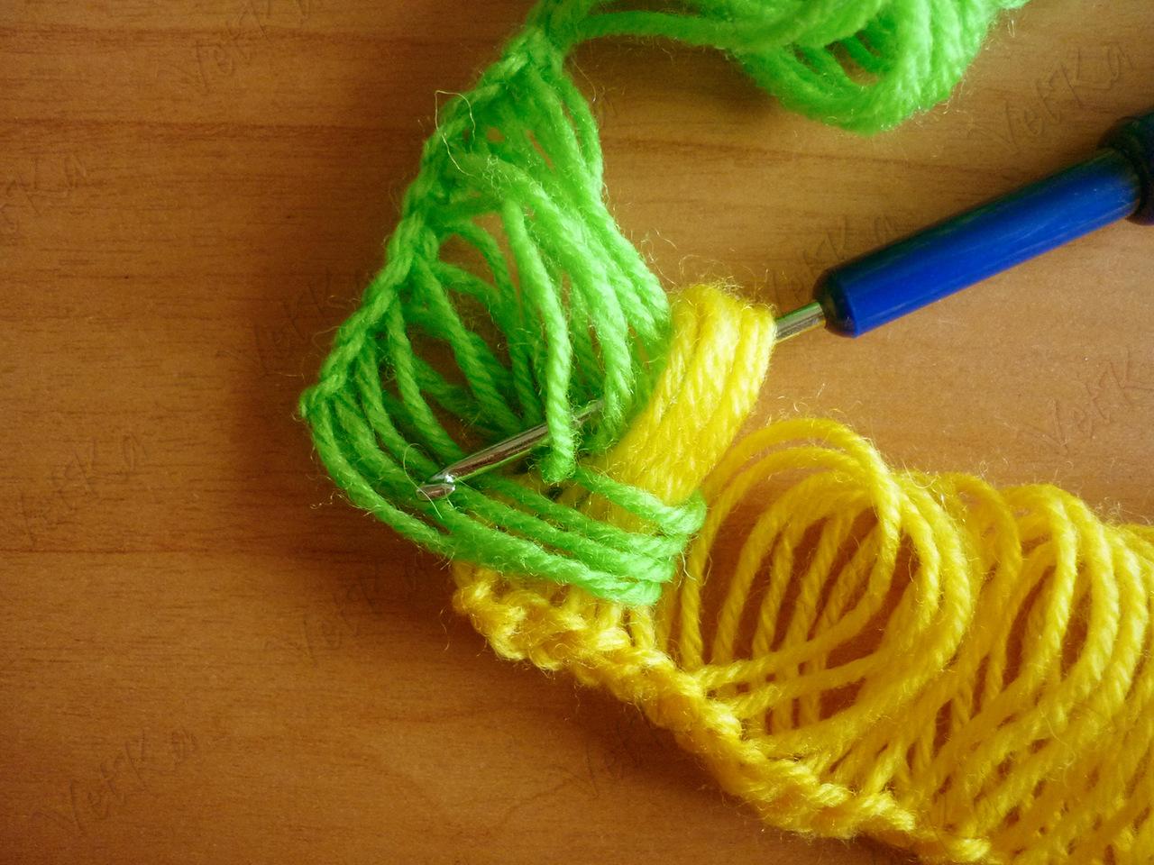 Вязание крючком по линейке шарф