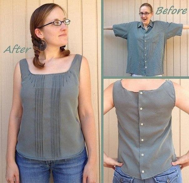 10 стильных и простых идей по переделке блузок и кофт - Своими руками