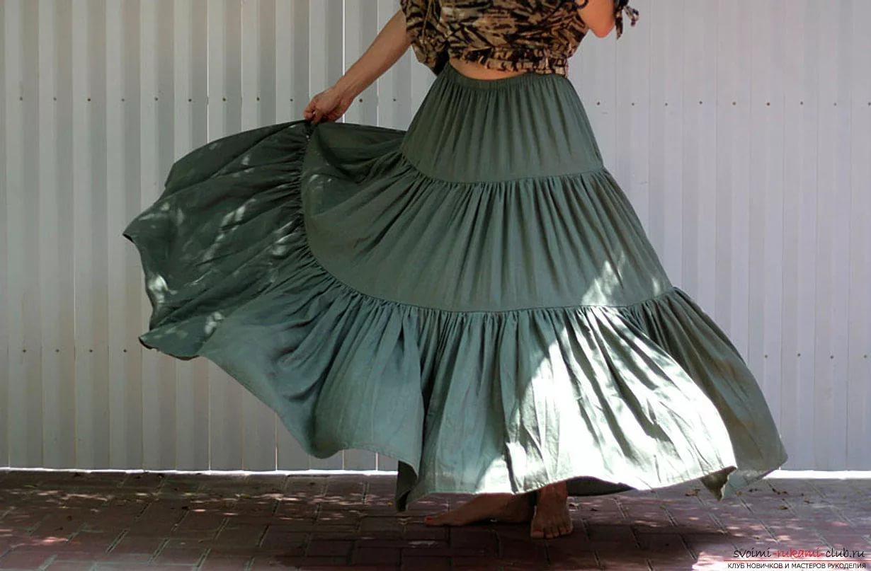 Как сшить многоярусную юбку в пол фото 673