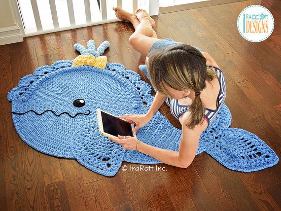 дельфин коврик крючком для детской или ванной комнаты