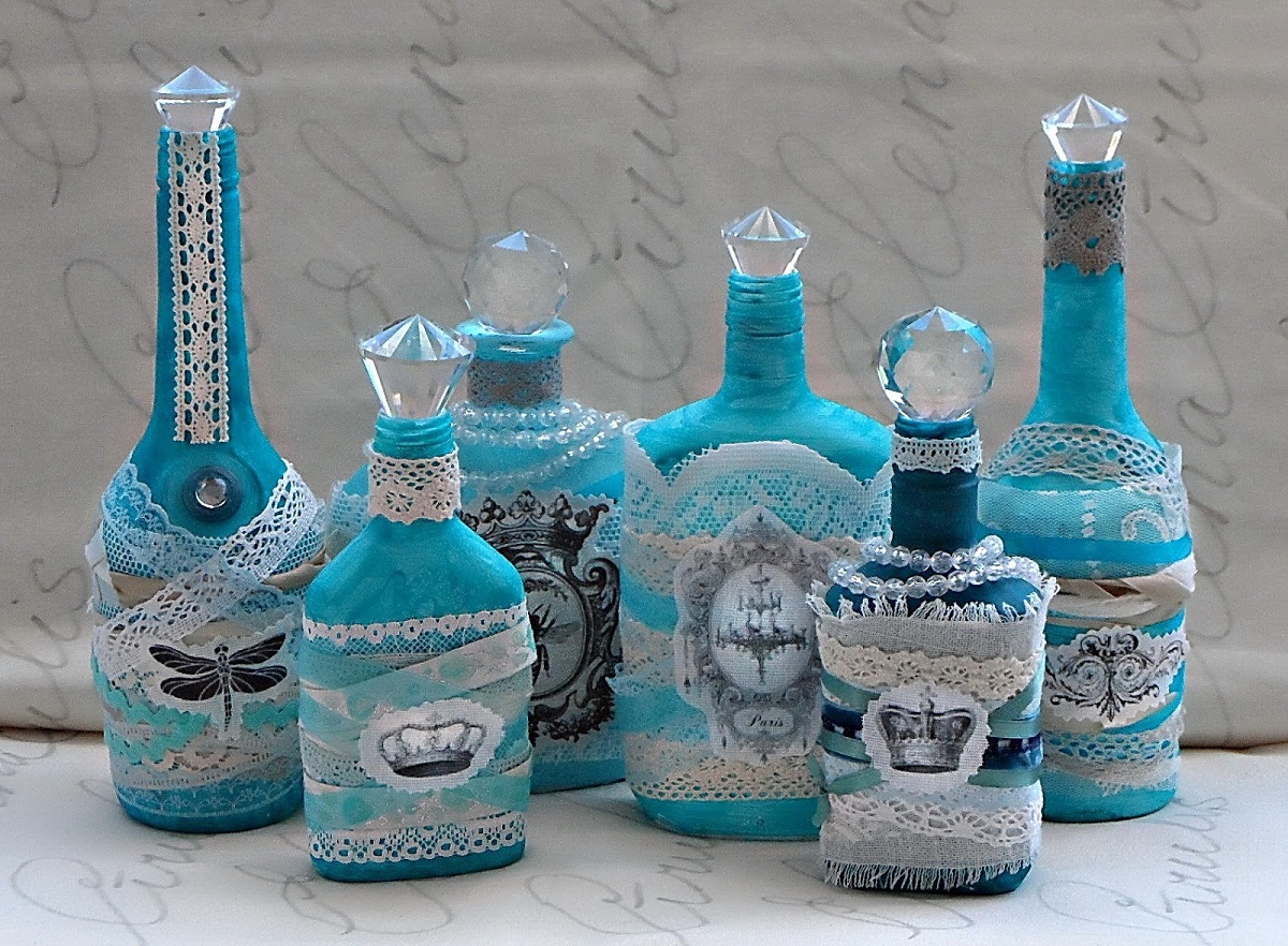 Декупаж бутылок тканью мастер класс пошаговое