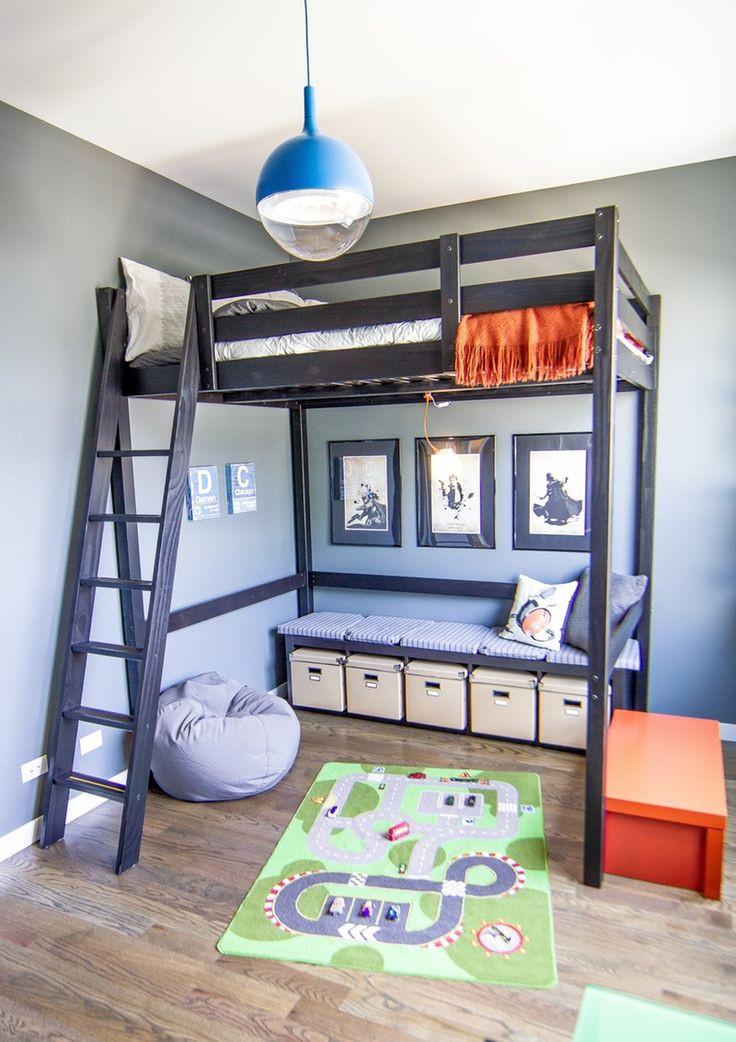 что разместить под кроватью-чердаком в детской