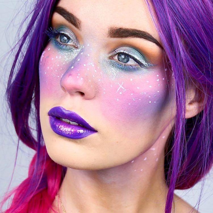 Галактический макияж, галактические веснушки, макияж космос, макияж вселенная