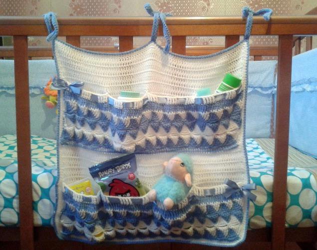 Кармашки на детскую кроватку вязание