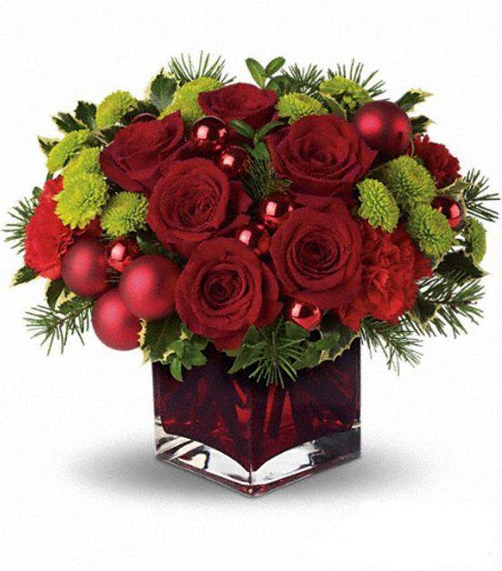 новогодние цветочные композиции из роз