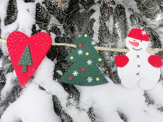 Новогодние гирлянды из фетра своими руками, фото 15