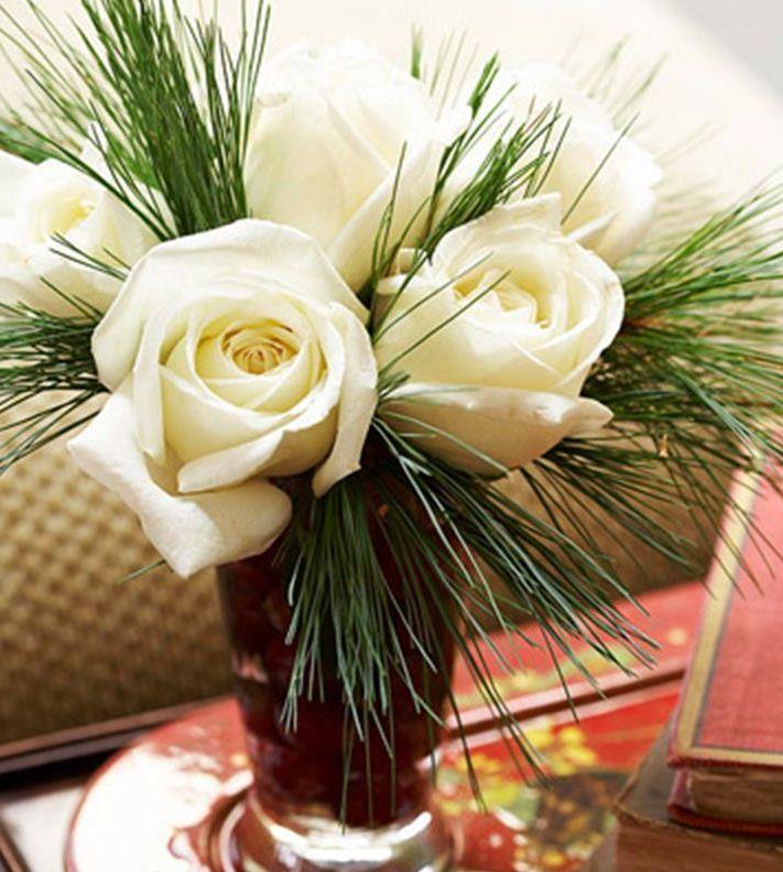 новогодний букет с розами