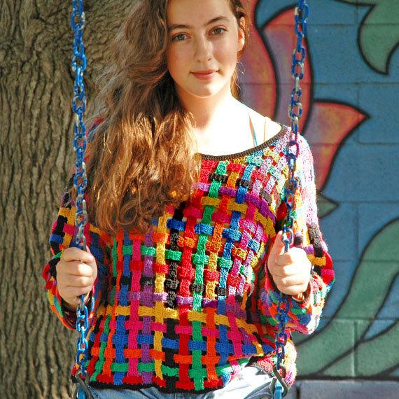 SALE .. 1980s Sweater . multicolor basket weave