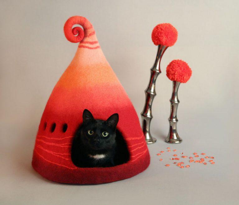 Домик из фетра своими руками для кошек 63