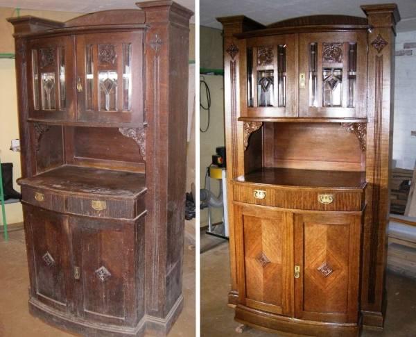 Ремонт старой мебели - лакирование шкафа-буфета