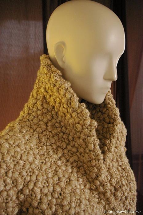 Стильный жакет с эффектом каракуля. Цветочное вязание крючком (3) (465x700, 270Kb)