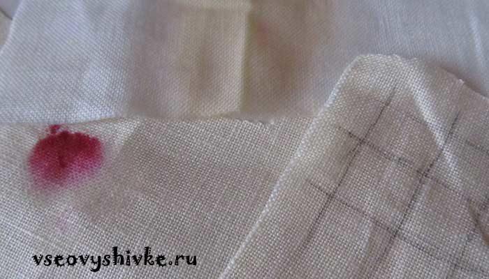предотвратить пятна на вышивке