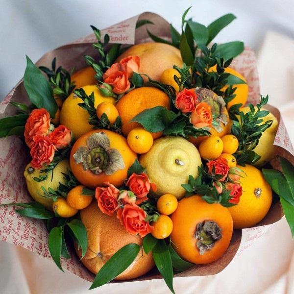 Букет из фруктов и роз своими руками