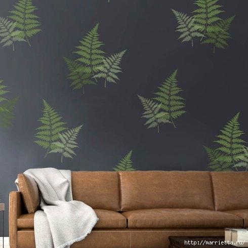 Растительный орнамент на стене. Роспись (10) (490x490, 95Kb)