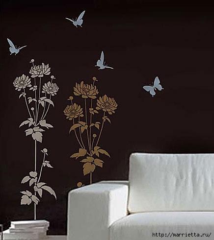 Растительный орнамент на стене. Роспись (17) (436x490, 77Kb)
