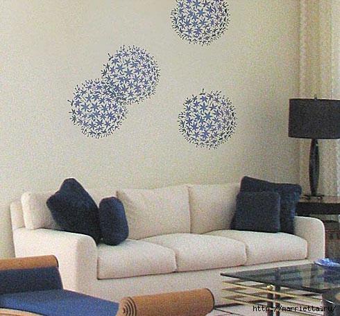 Растительный орнамент на стене. Роспись (22) (490x456, 165Kb)