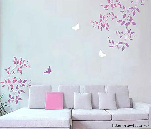 Растительный орнамент на стене. Роспись (5) (490x419, 83Kb)
