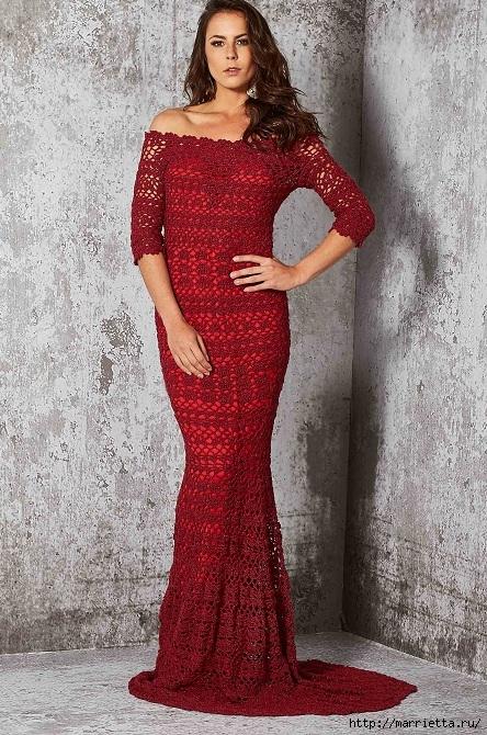 Вечернее красное платье крючком (1) (444x670, 323Kb)