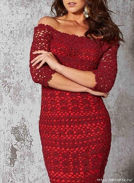 Вечернее красное платье крючком (2) (458x626, 296Kb)