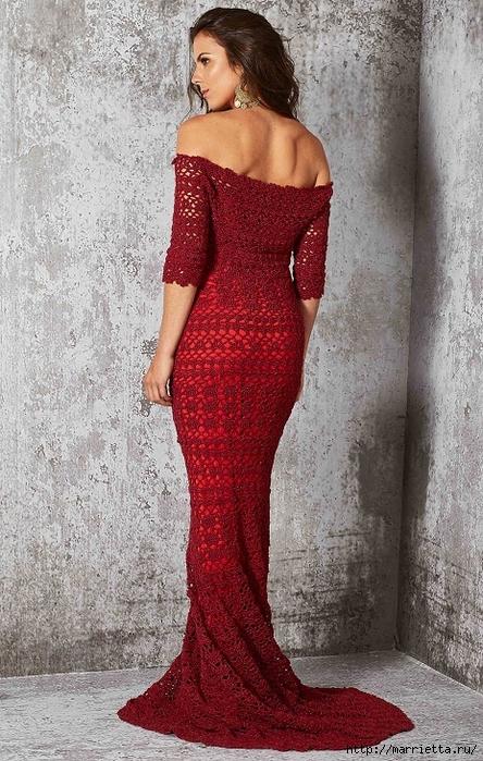 Вечернее красное платье крючком (3) (444x700, 324Kb)