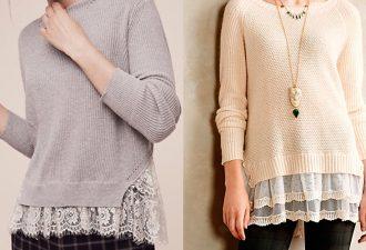 Как удлинить пуловер спомощью кружева