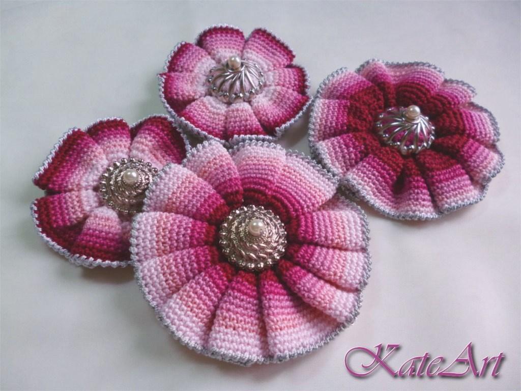 вязание крючком объемные цветы фото и схемы любимец
