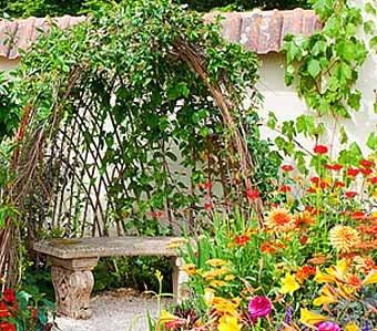 скамейки среди цветов