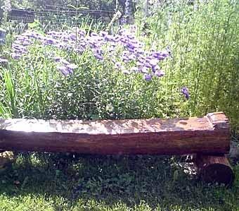 скамья из старого дерева рядом с клумбой