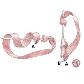 вышивка лентами французский узелок