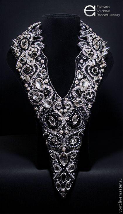 """Колье """"Белая вдова"""" (вышивка бисером, кристаллами). Handmade. #bead #beadart:"""