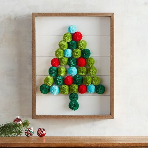 19 a Christmas tree artwork made of colorful pompoms in a frame its very easy to make