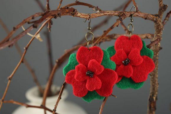 Серьги-цветочки из фетра