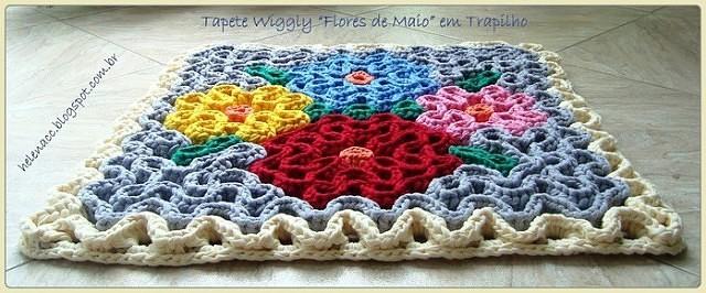 вязание ковриков крючком по объемной схеме на филейной сетке