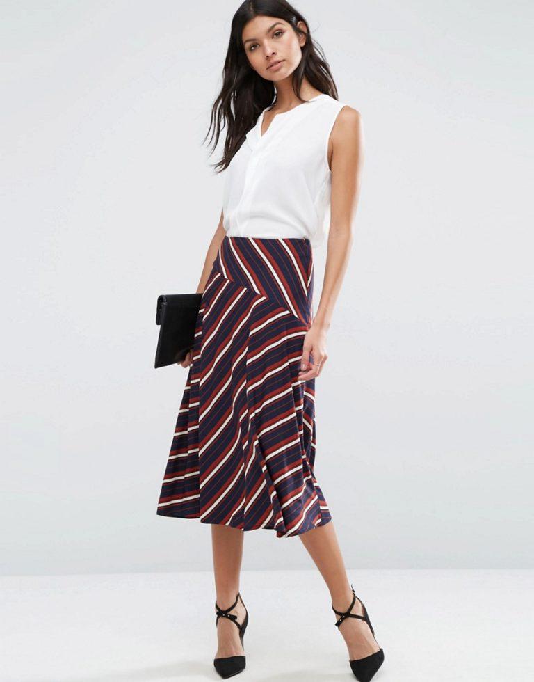 Фасон юбки из ткани в полоску фото