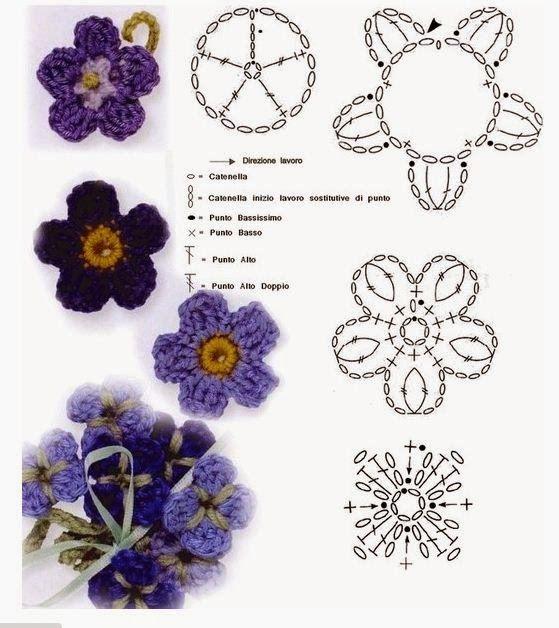 Flores tejidas para separadores de libros : cositasconmesh: