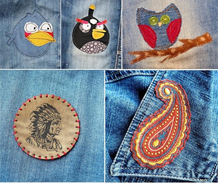 рисунок из ниток на джинсах тюльпаны