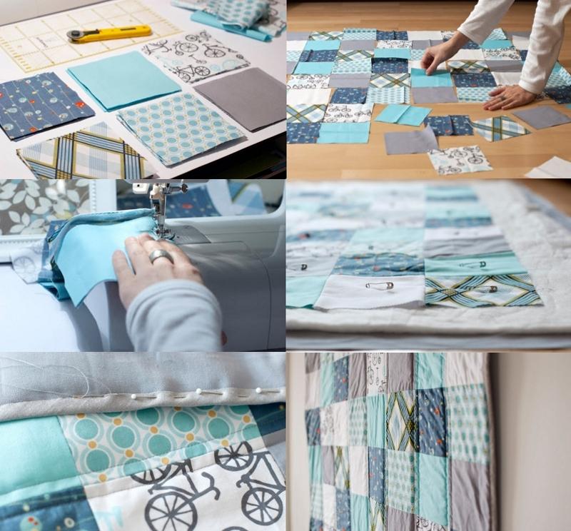 Этапы изготовления одеяла в технике пэчворк