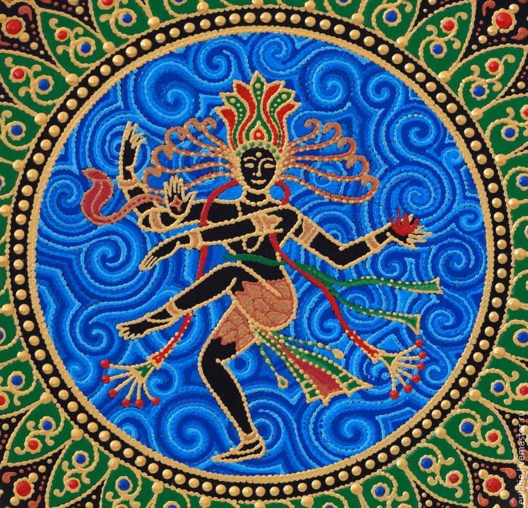 Тарелка-панно «танцующий Шива». Мастер-класс по точечной росписи