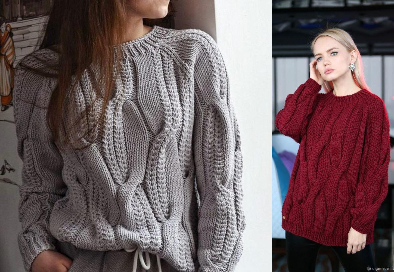 """Стильный объемный свитер оверсайз: два варианта вязания узора """"Косы"""""""